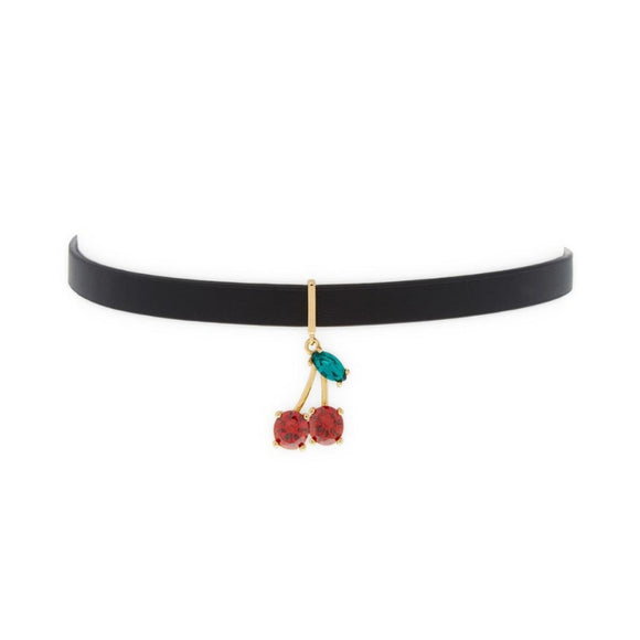 kate spade new york Ma Cherie Cherry Crystal Leather Choker-Seven Season