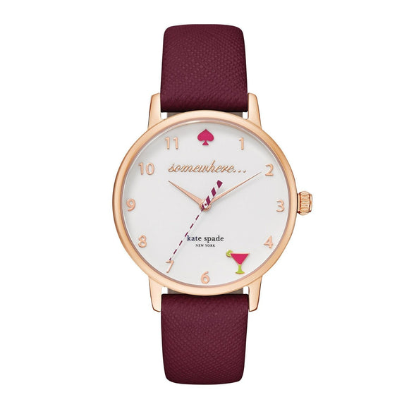 kate spade new york Metro 5 O'clock Somewhere Merlot Leather Watch-Seven Season