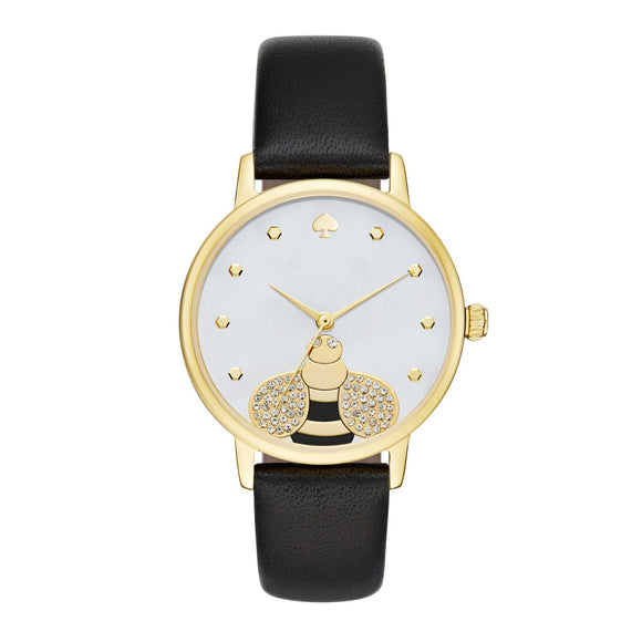 kate spade new york Metro Bee Gold Tone Leather Watch-Seven Season