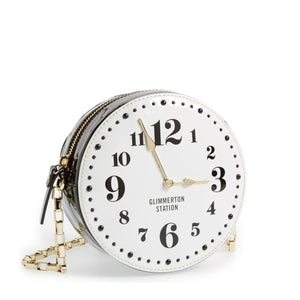 All Aboard – Glimmerton Station Clock Patent Leather Crossbody Bag