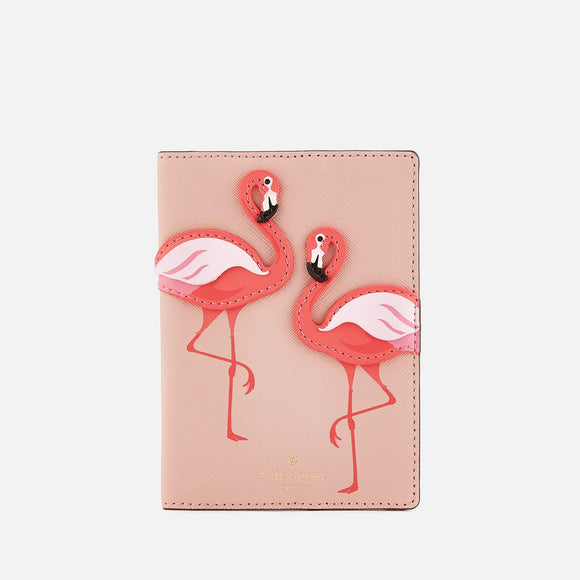 kate spade new york By the Pool Pink Flamingo Passport Holder-Seven Season