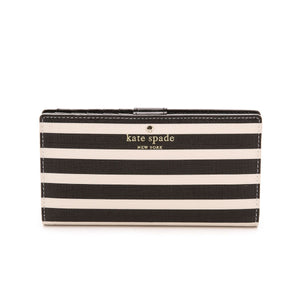 kate spade new york Fairmount Square Stacy Continental Snap Black and Sandy Beach Wallet-Seven Season