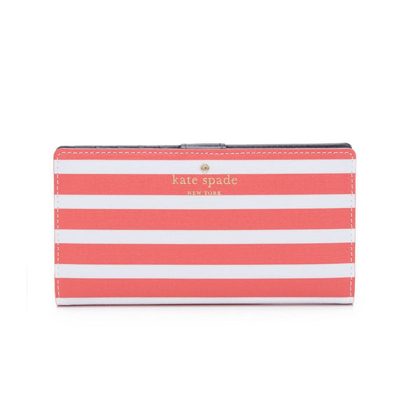 kate spade new york Fairmount Square Stacy Continental Snap Geranium and Cream Wallet-Seven Season