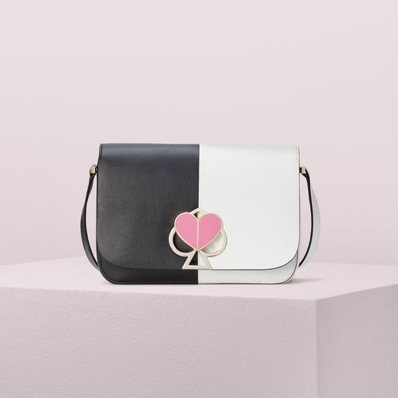 kate spade new york Nicola Bicolor Twistlock Medium Black and Optic White Shoulder Bag-Seven Season
