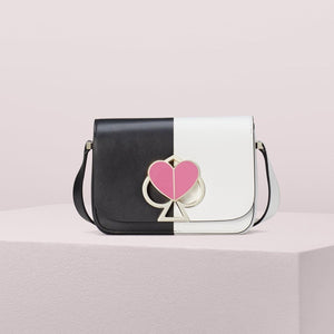 kate spade new york Nicola Bicolor Twistlock Small Black and Optic White Shoulder Bag-Seven Season