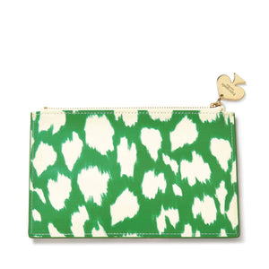 kate spade new york Painterly Cheetah Ikat Green Pouch-Seven Season