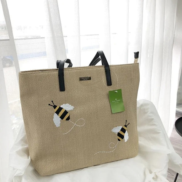 kate spade new york Picnic Perfect Straw Bee Tote Bag-Seven Season