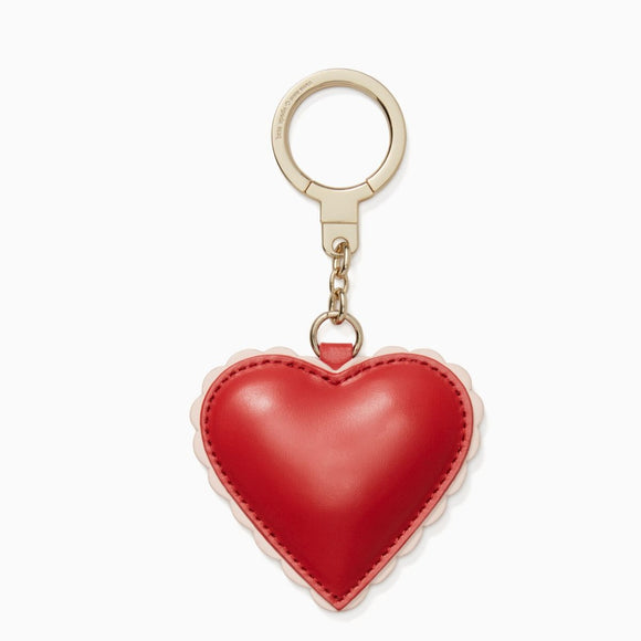 kate spade new york Scalloped Leather Heart Keychain-Seven Season