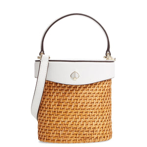 kate spade new york White Mini Rose Rattan Bucket Bag-Seven Seasonkate spade new york White Mini Rose Rattan Bucket Bag-Seven Season