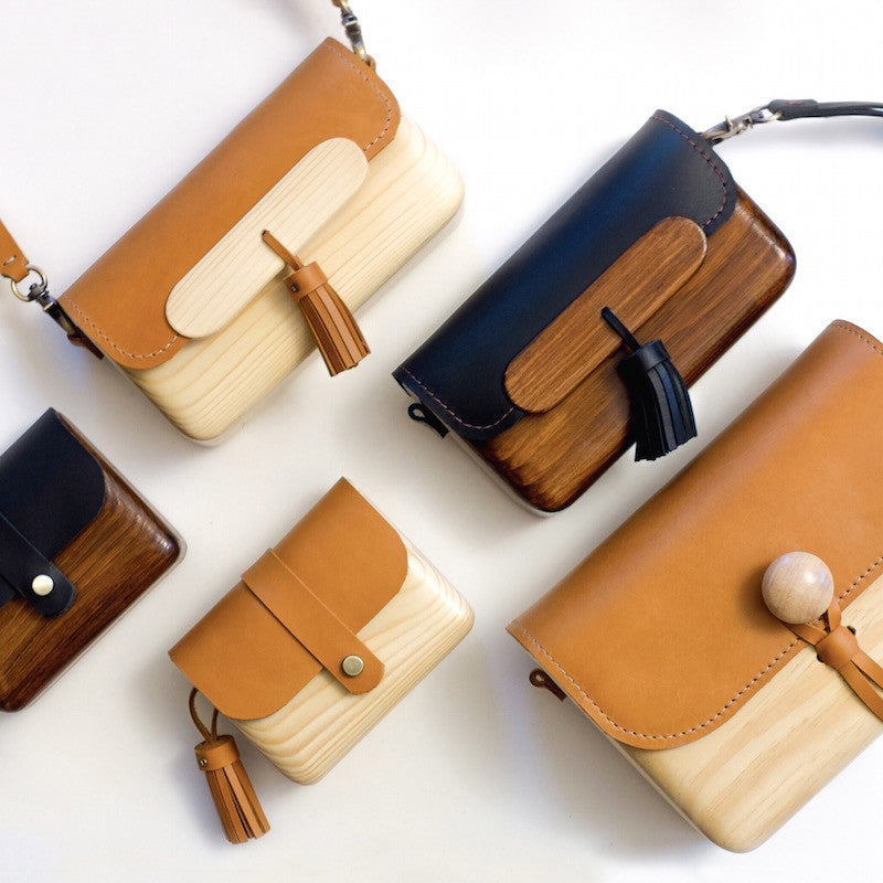 Pinewood & Leather Bags
