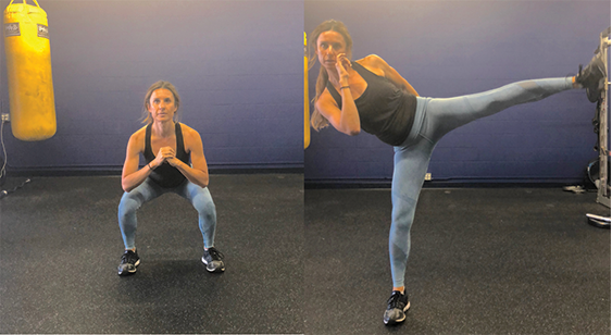 3b. Roundhouse Kick to Squat