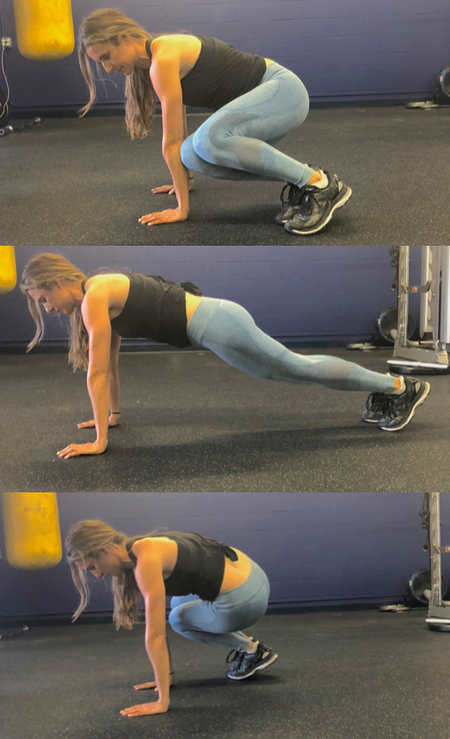 4a. Leap Forward into Squat, Burpee, Shuffle Back
