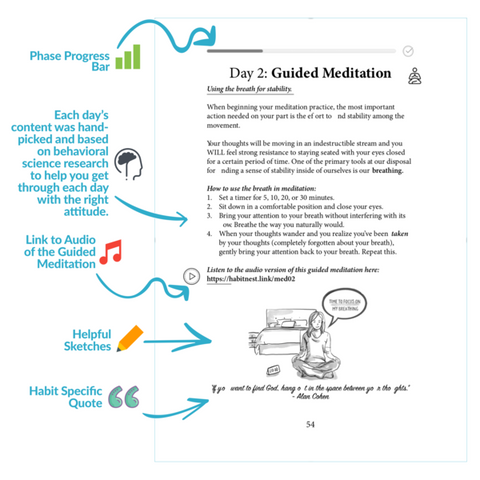 meditation sidekick journal, habit nest