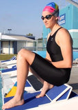 Girls' Black Racing Kneesuits with Black stitching