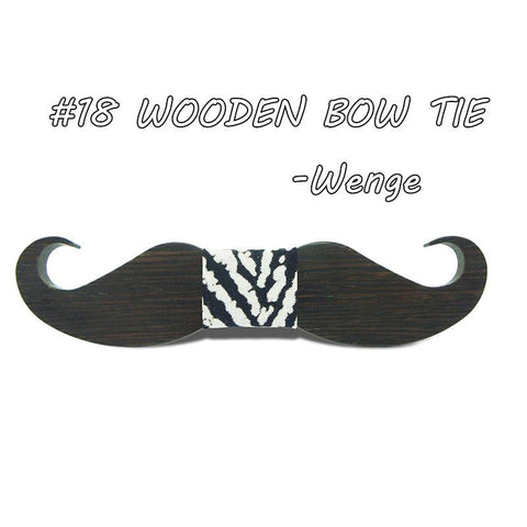 Mustache Hipster Wood Bow Tie