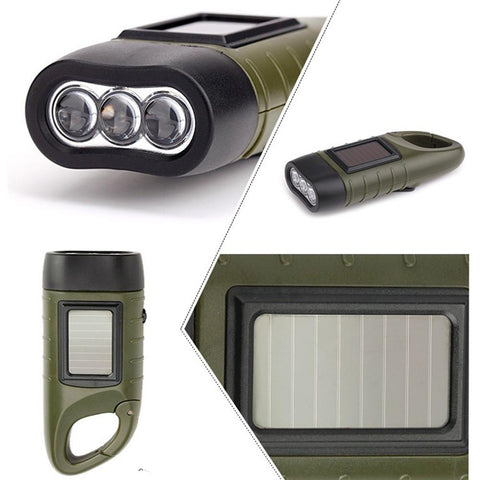 LED Flashlight with Solar and Handcrank