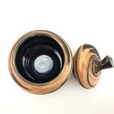 Marble Ceramic - Small pot with a lid Black