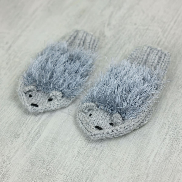 Kids Hedgehog Mittens - grey