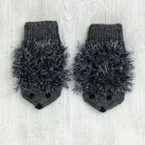 Kids Hedgehog Mittens - dark grey