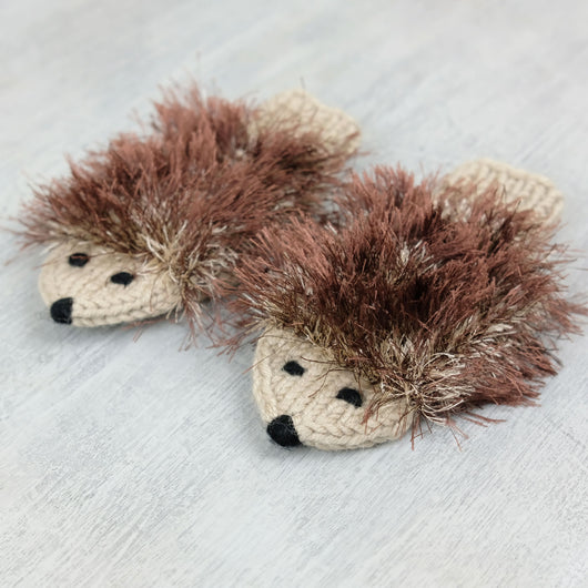 Kids Hedgehog Mittens - brown