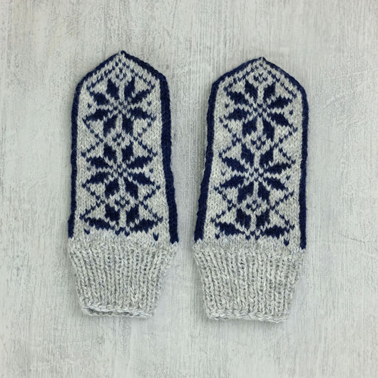 Kids Latvian Mittens - grey / navy