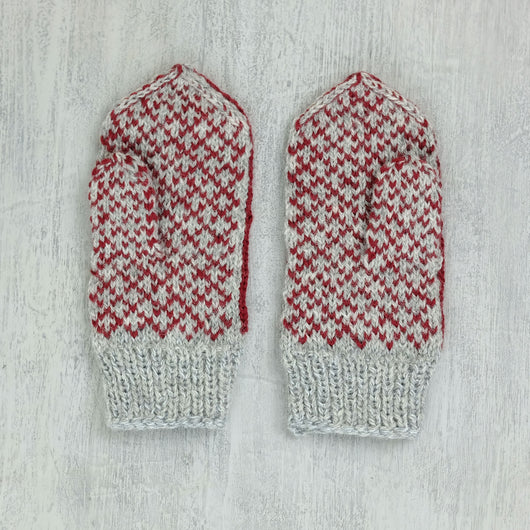 Kids Latvian Mittens - grey / red