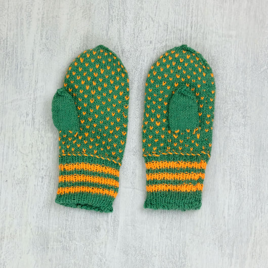 Kids Latvian Mittens - green