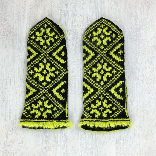 Hand knitted Latvian mittens - Saules zīme