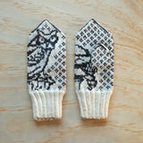 Hand knitted Latvian Mittens - Owls
