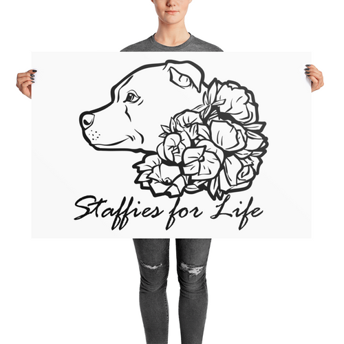 Staffies for Life - Photo paper poster