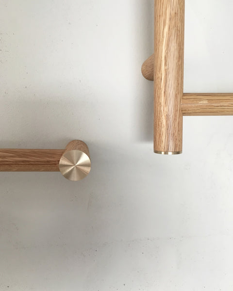 Towel Rail, Towel Rack, American Oak, Brass