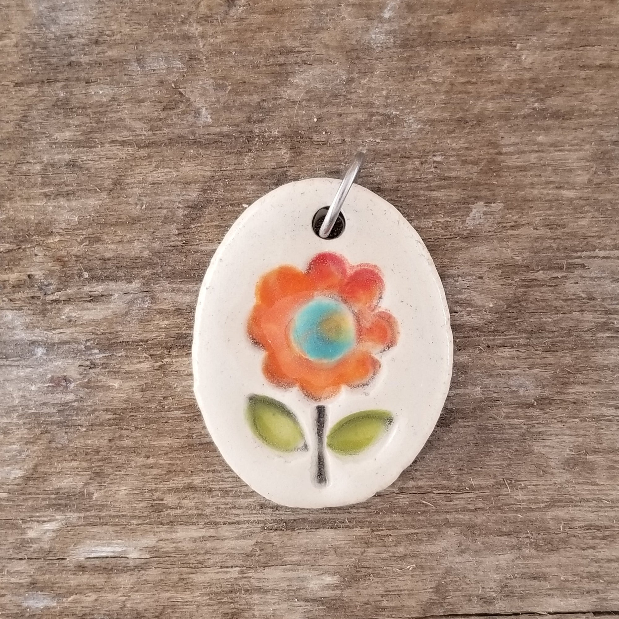 Orange Zinnia Small Pendant - Cheryl Stevens Studio