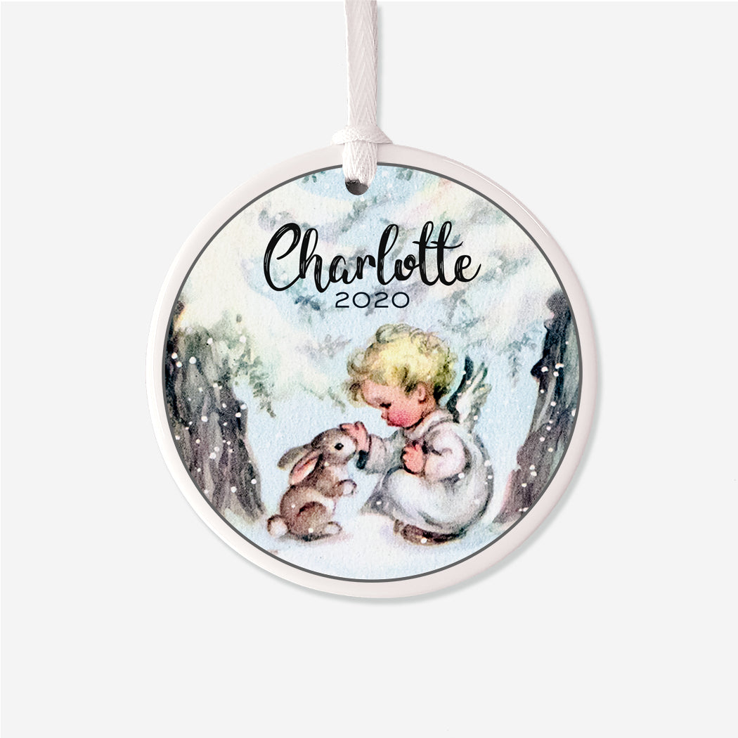 Vintage Angel Bunny Personalized Christmas Ornament