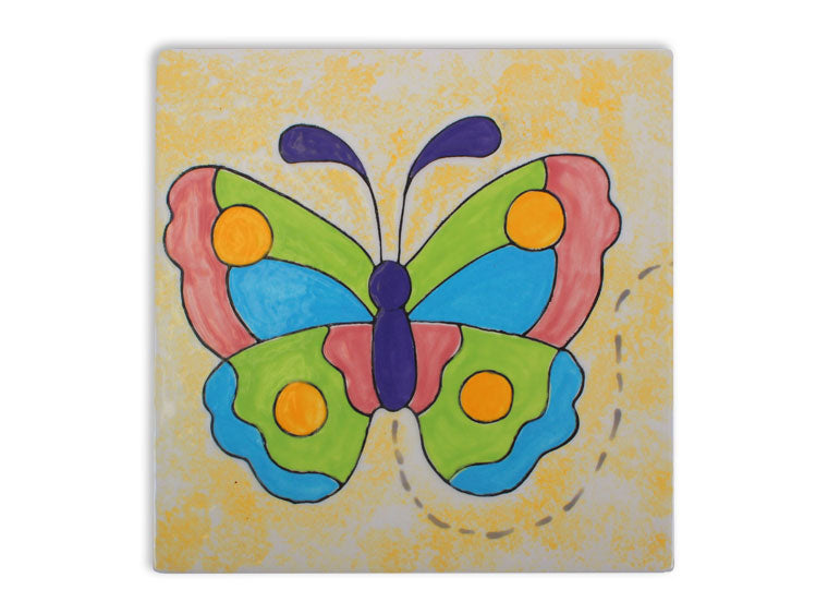 "6"" Butterfly Coloring Book Tile Pottery To Go - Cheryl Stevens Studio"