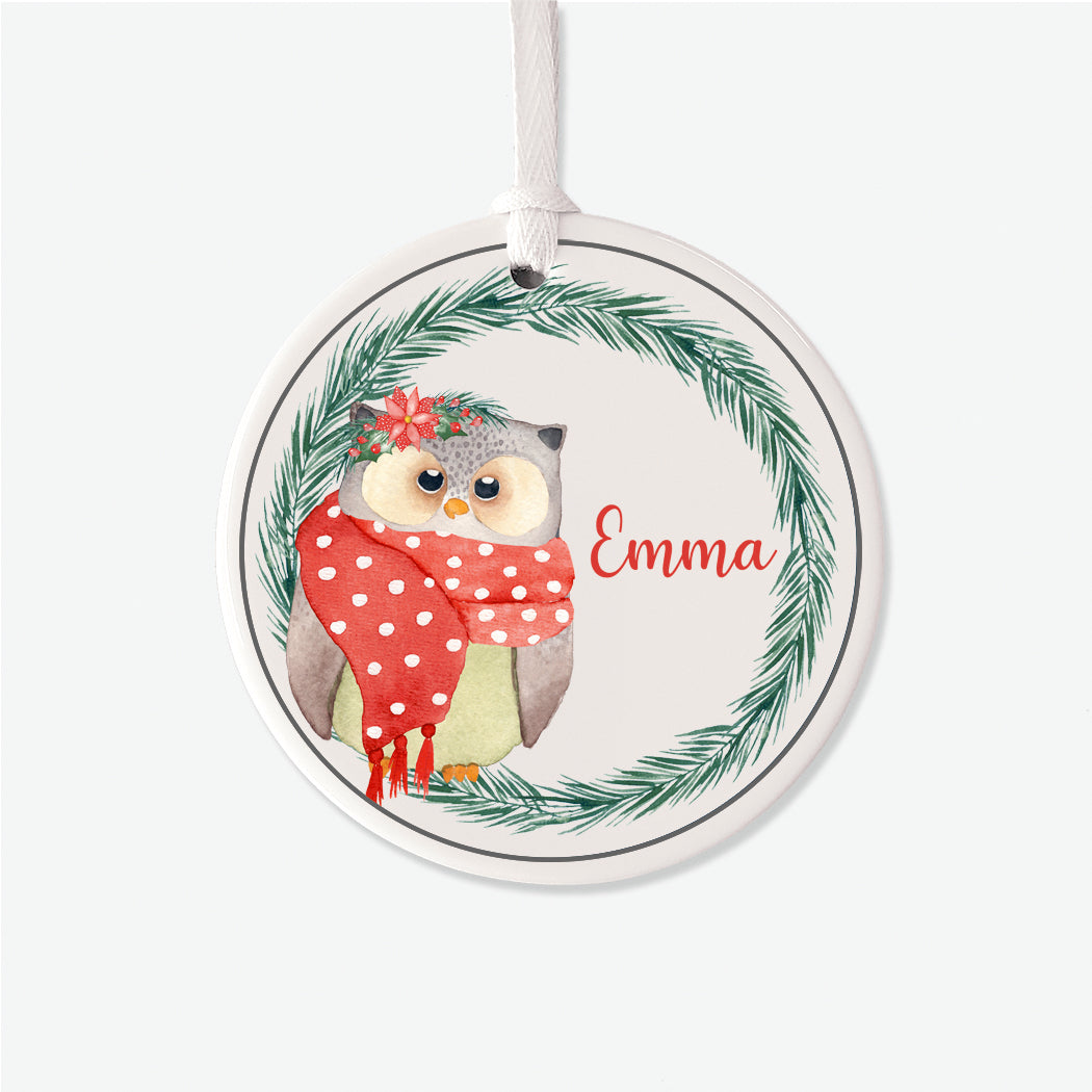 Winter Owl Personalized Christmas Ornament