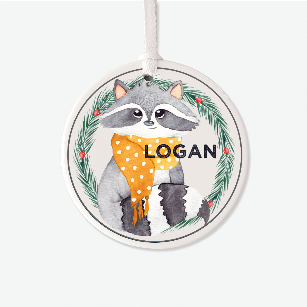 Racoon Personalized Christmas Ornament
