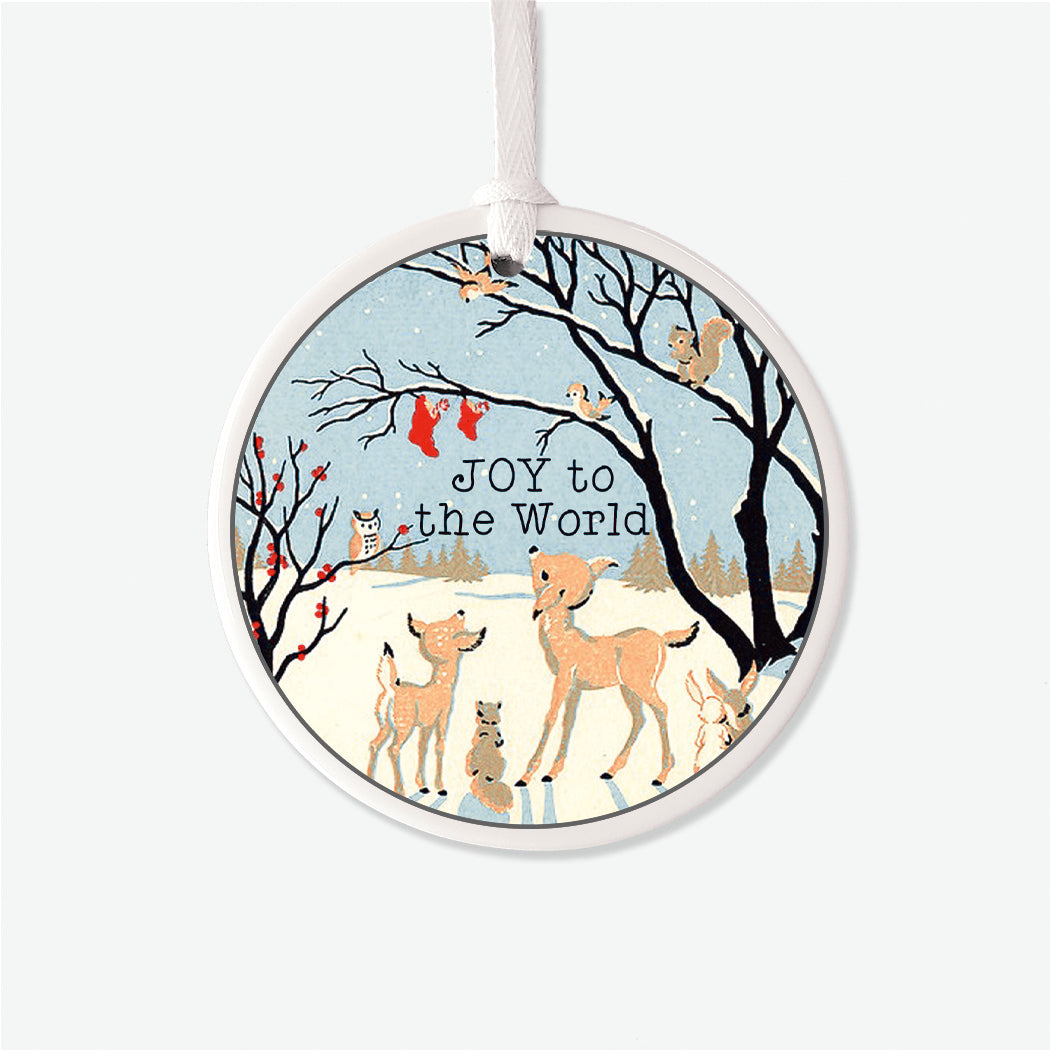 Vintage Personalized Forest Friends Christmas Ornament