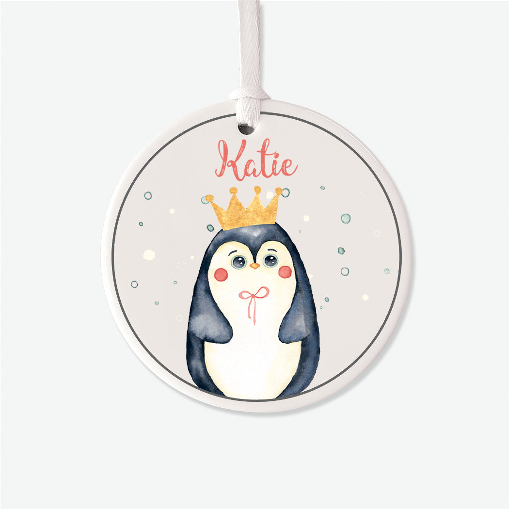 Girl Penguin Personalized Christmas Ornament