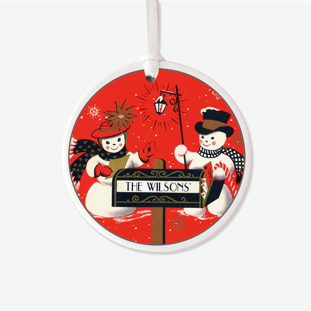 Vintage Snowcouple Personalized Christmas Ornament