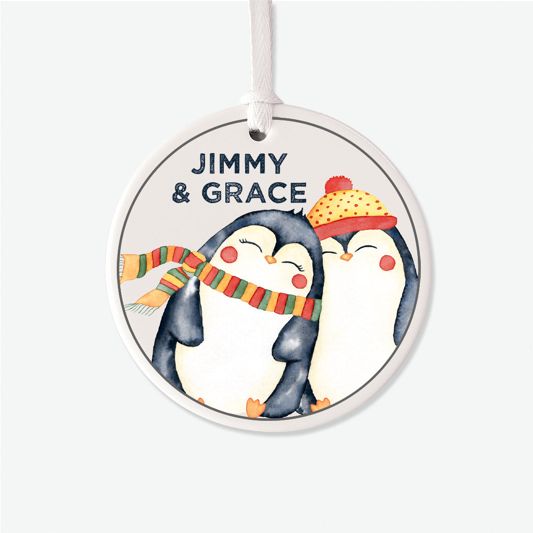 Penguin Couple Personalized Christmas Ornament