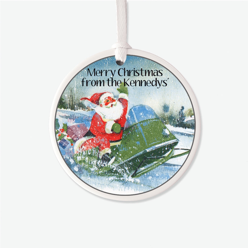 Vintage Santa Snowmobile Personalized Christmas Ornament