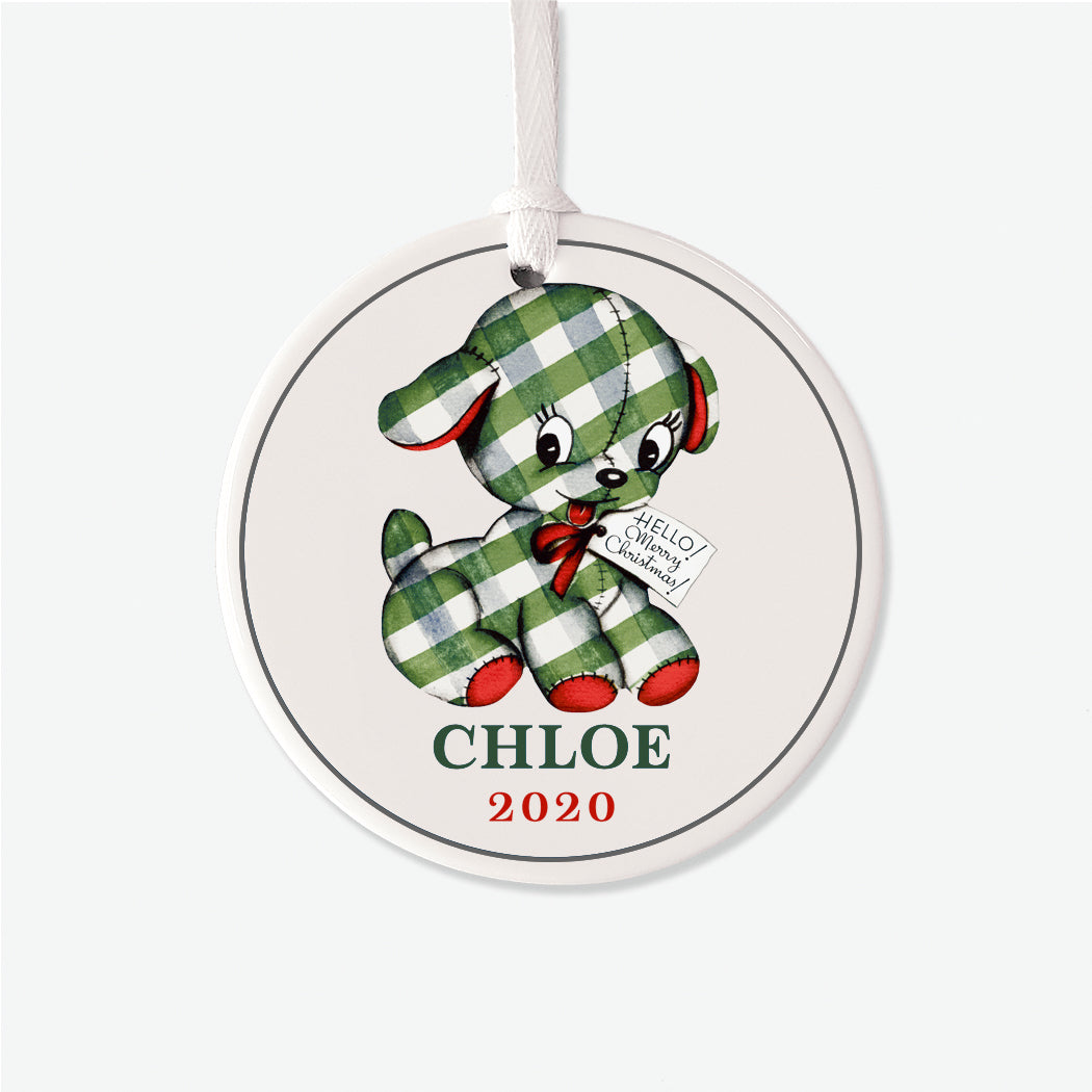 Vintage Striped Puppy Christmas Personalized Ornament