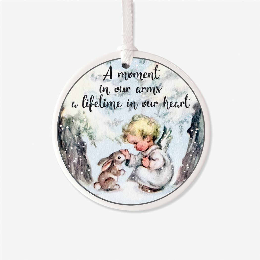 Vintage Moment in Our Arms Memorial Bunny Christmas Ornament