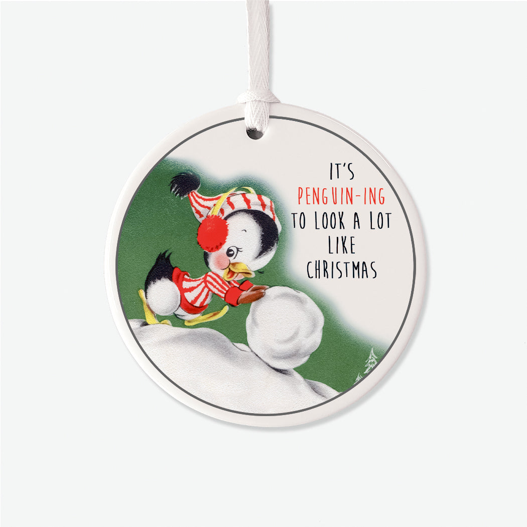 Vintage Penguining Christmas Ornament