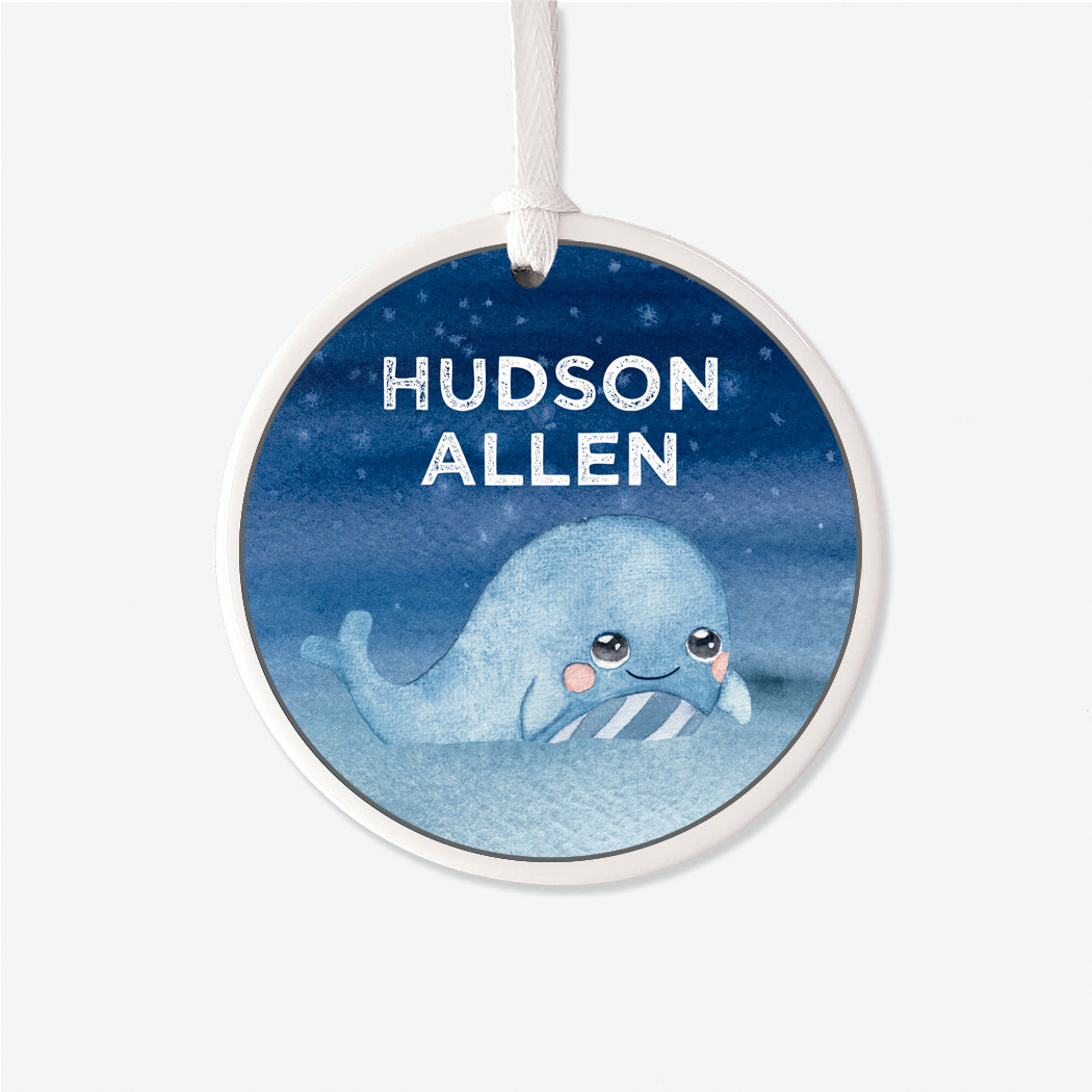 Personalized Baby Whale Ornament