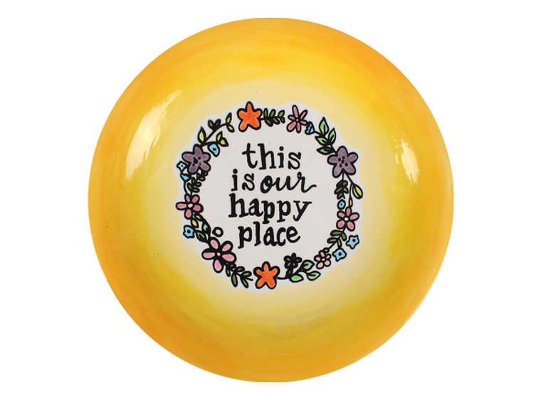 "10"" Happy Place Coloring Book Plate Pottery To Go - Cheryl Stevens Studio"