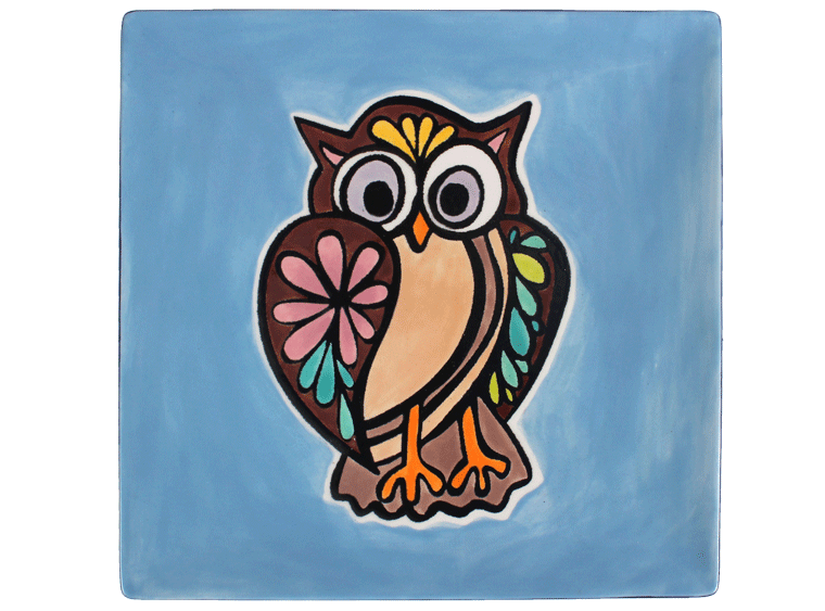 "8"" Owl Coloring Book Pottery Plate - Cheryl Stevens Studio"