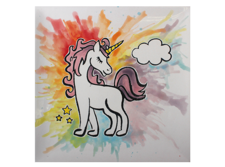 "8"" Unicorn Coloring Book Plate Pottery To Go - Cheryl Stevens Studio"