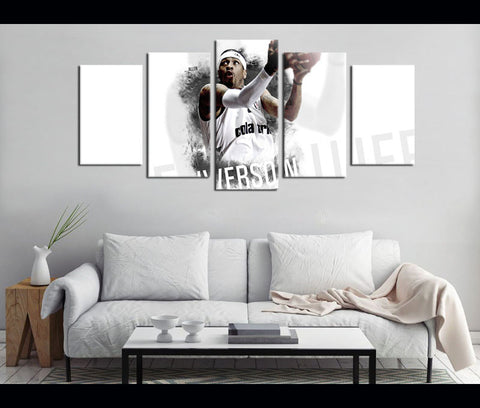 5 Pieces Canvas Art Allen Iverson Basketball Painting Wall Art Canvas Print