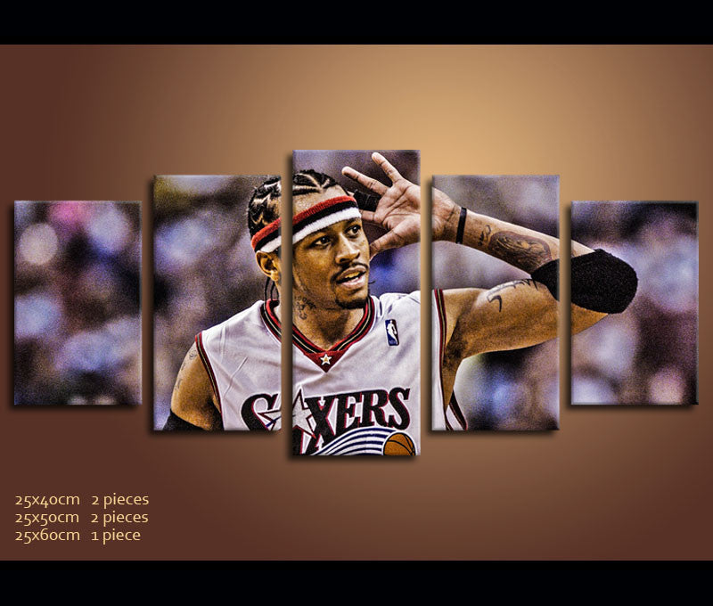 f56692185586d 5 Pieces Canvas Art Allen Iverson Basketball Painting Wall Art Canvas Print